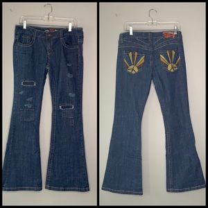 Imperial Star Rising Sun Patch Flare Jeans A1 0263